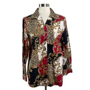 Chicos Paisley Leopard NO-IRON Button Down Top